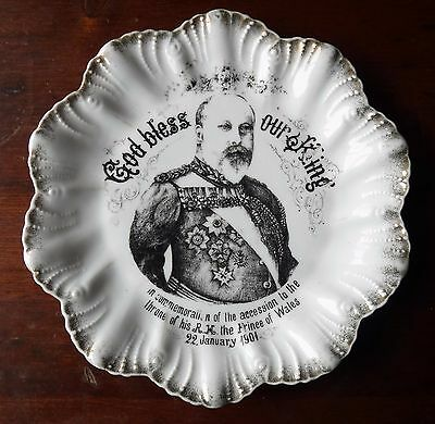 Antique God Bless Our King  In Commemoration To The Throne Plate January 22 1901