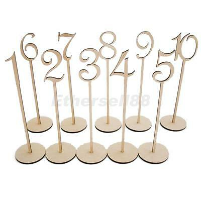 Vintage 1-10 Wooden Table Numbers w.Stand Wedding Birthday Party Table Decor