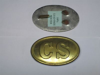 Confederate States Civil War buckle pewter filled.