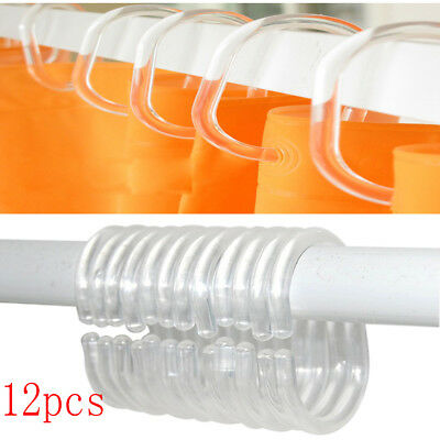 12x Shower Curtain Transparent Plastic Hook Set Rings C Shape Pack of 12