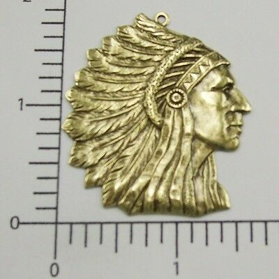 39223        Brass Oxidized Large American Indian Head Pendant