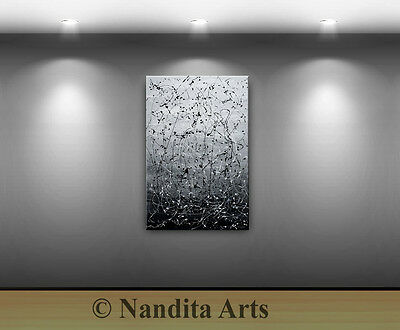 Blue Abstract wall art decor black artwork modern home office canvas painting