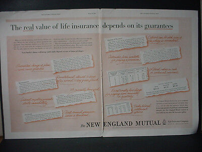 1955 New England Mutual Life Insurance Double Page Vintage Print Ad 10858