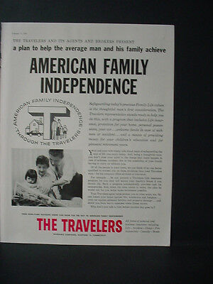 1956 The Travelers Insurance American Family Independence Vintage Print Ad 10755