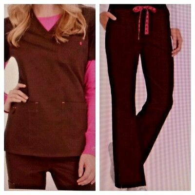 NWT Med Couture Women's Scrub Set (Top 8496/ Pant 8738) Chocolate