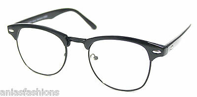 All Black Clear Lens Glasses Clubmaster Style #3500 Vintage Retro Optical Frames