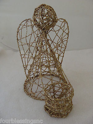 "Christmas Angel Votive Candle Holder-Gold Coated Wire-8"" X 7"" X 5"""