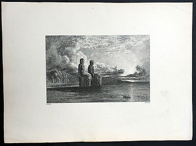 1840 Muller Large Original Antique Print of Egyptian Statues