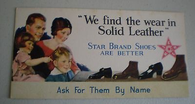 Vintage Star Brand Shoes Blotter Card 1920's-30's