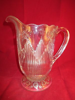 """Vintage Glass Serving Pitcher 2 Quart 9"""" Tall Embossed With Snow Flake Design"""