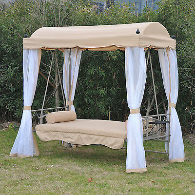Heavy Duty Convertible Patio Swing Bed Chair Canopy Furniture W