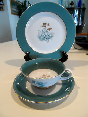 1940's Luncheon Set-White w/Green & Gold Rim & Flowers-Royal Bayreuth-US Zone x2