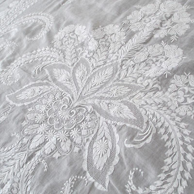 """Antique 19thC Handmade FRENCH WHITEWORK Embroidered TABLECLOTH Flowers LOV 114"""""""