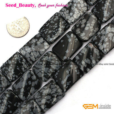 """15x20mm Twist Rectangle Natural Gemstone Loose Beads For Jewelry Making 15"""""""