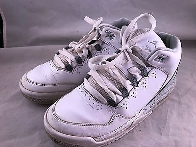 Pair Of Size 5Y White & Grey Air Jordan Flight High Top Basketball Shoes