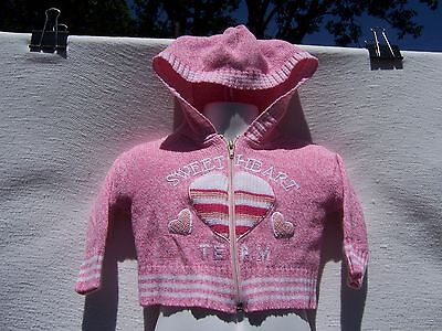 Baby Togs Girls Infant Pink & White Long Sleeve Cardigan Sweater Size 3-6 Months
