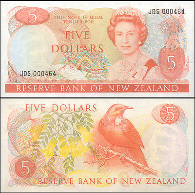 New Zealand Mint QE2 $5 JDS 000460 Russell signature Paper Banknote Issue p171b