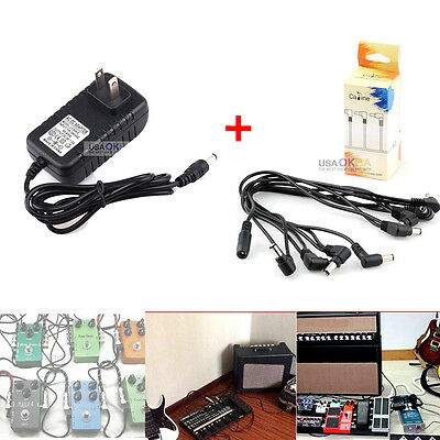 Guitar Effect Pedal 8 way Daisy Chain Cable Cord w/9V DC 2A Power Supply Adapter