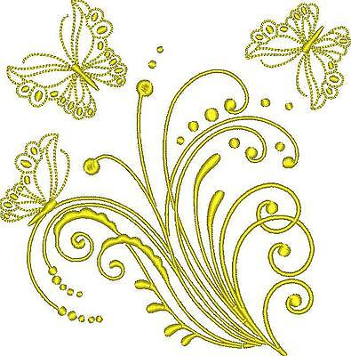Golden Butterfies 10 Machine Embroidery Designs Cd 3 Sizes