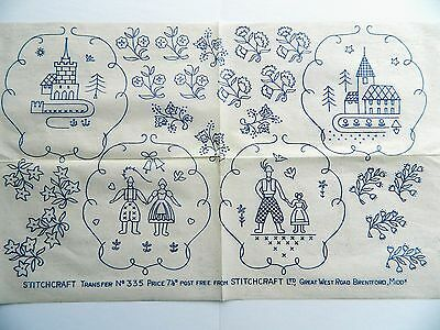 Flowers & Village 1930's 40's Vintage Iron-on Embroidery Transfer Pattern 01