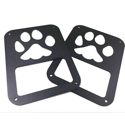 Pair Dog Paw Print Style Tail Light Cover Rear Protector Guard For Jeep Wrangler