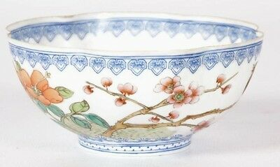 Ancien bol en porcelaine chinoise signé, chinese bowl porcelain bird signed