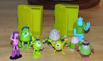 Nice Collection Of ELEVEN MONSTERS INC Figures And Two Closets Disney Pixar