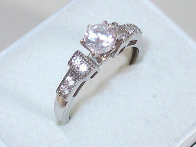 Gorgeous Sterling Silver White Stone Ring - Size M