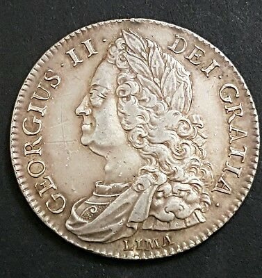 1745 Lima King George Ii Silver 1/2 Half Crown Coin - Ex Mounted