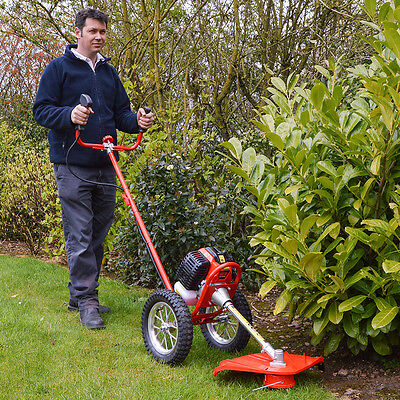 FOX Wheeled 2 Stroke Wolf Petrol 52cc Engine Garden Grass Lawn Trimmer Strimmer
