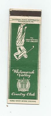 Whitemarsh Valley Country Club     Matchcover  Chestnut Hill, Philadelphia, PA.