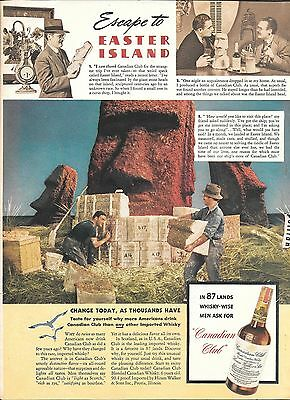 1941 Canadian Club Whisky Escape To The Easter Islands Ad