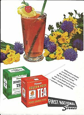 1955 First National Grocery Stores Finast Tea Ad