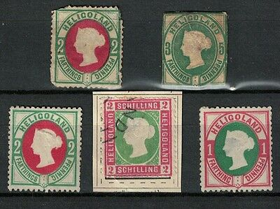 heligoland mint stamps - perf 1860s onwards useful lot some faults unused