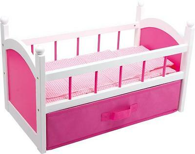 Pink Wooden Dolls Bed with Bedding & Storage New