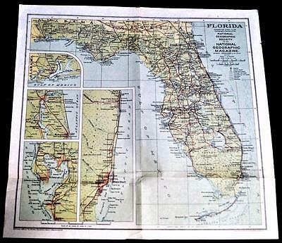 The National Geographic Society Map State Of Florida 1930 Vintage