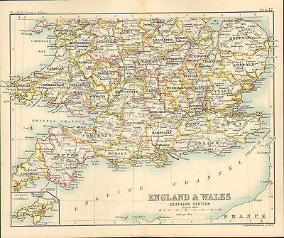 """1890 small map of  """" england & wales southern section """" by john bartholomew 1890"""
