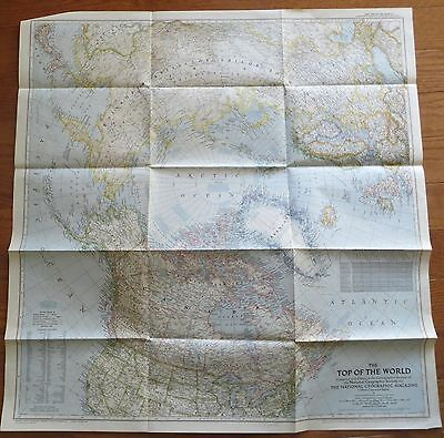 Vintage National Geographic Map 1949 Top Of The World