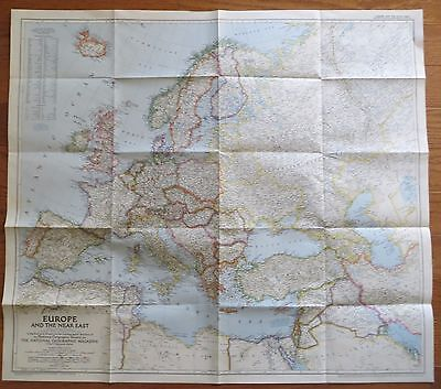 Vintage National Geographic Map 1949 Europe and the Near East