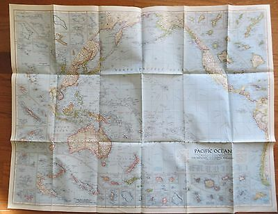 Vintage National Geographic Map 1952 Pacific Ocean