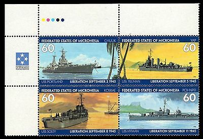 """MICRONESIA 231 - WWII 50th Anniversary """"United States Warships"""" (pa59857)"""