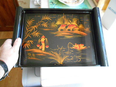 oriental wooden lacquer large serving tray