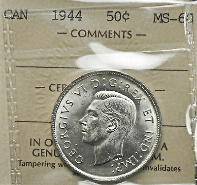 1944 Canada 50 cents ICCS graded MS-60