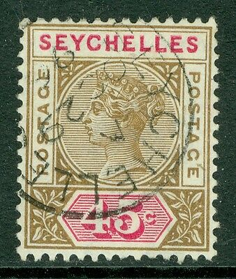 SG 25 Seychelles 45c Brown & carmine, A very fine used CDS example CAT £35