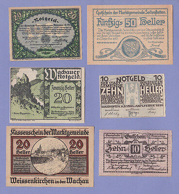 AUSTRIA - 6 Old Notgeld NOTES 1920 - Mostly UNC -  Pack#2437 - LOOK!
