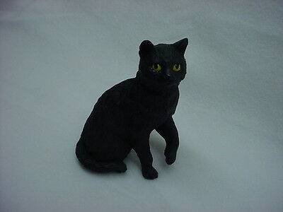Pretty BLACK CAT FIGURINE kitty kitten HAND PAINTED Resin STATUE Collectible NEW
