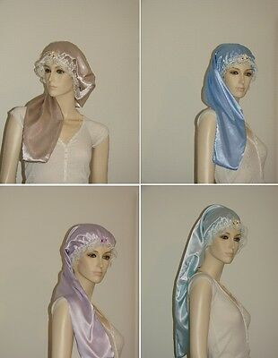 Satin Hair Bonnet or Night Cap, Solid Colors - Adult Size for Long Hair