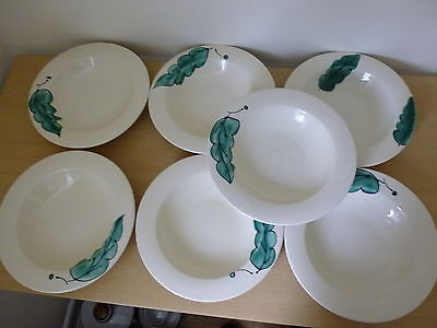 7 Poole Pottery Green Leaf Pasta or Soup Bowls - Hand Painted