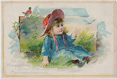 Precious Little Girl and Butterfly - Lion Coffee - Victorian Trade Card 1890's