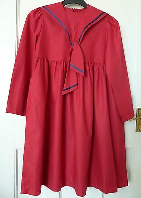 LAURA ASHLEY Vintage 1980s Red Girls Cotton Sailor Dress Age 7 - 8 Years
